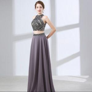 Beautiful 2-piece long gray prom dress!